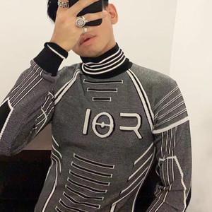 Beste 19FW Rüstung Swaeter grau Dekoration Sweatshirts Mode Sinn für Wissenschaft Technologie Langarm gestrickt Sanitär HFLSMY054