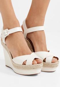 Yaz tatili altın deri kadınlar için damızlık inci ile yüksek topuklu kırmızı alt almeria takozlar ayak bileği kayışı sandalet kutusu ile pompalar, eu35-46