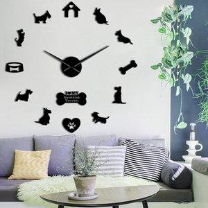 Scottish Terrier Large Wall Clock Aberdeen Terrier I Love My Scottie Diy Sticker Frameless Big Wall Clock Silent Sweep Movemen