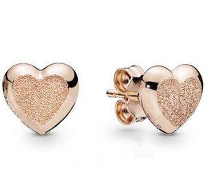 Original 925 Sterling Silver Earring Matte Brilliance Hearts Stud Earrings For Women Wedding Gift Fashion Jewelry