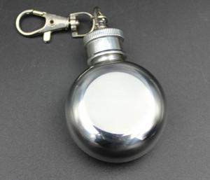 1 oz 28ml Hip redondo de acero inoxidable mini frasco con llavero alcohol del licor de whisky del pote del vino frascos pequeños Vasos SN880