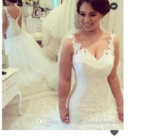 Real-Picture V-Neck Lace Tulle Trumpet Mermaid Wedding Dress