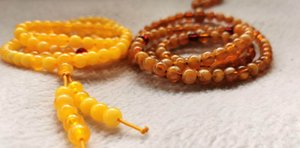 108PCS Amber synsthtic brown yellow Prayer Buddha Mala Meditation Beads Round Loose Beads for bracelet-necklace