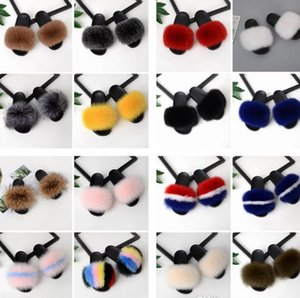 Ventes chaudes été femmes Fox Fox pantoufles de fourrure Real Fox cheveux diapositives Femelle Furry Indoor Flip Flops Casual Plage Sandales Fluffy En Peluche Chaussures