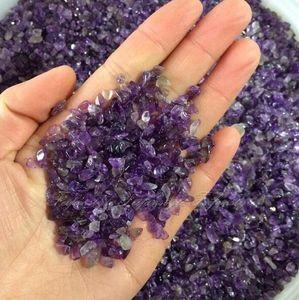 familia feliz 100g Natural Mini punto de amatista Piedra de cristal de cuarzo Chips de roca Lucky Healing piedras naturales