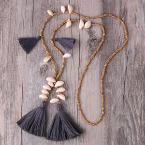 KELITCH Holz wulstiger lange Halsketten-Charme Seashell Kauri-Anhänger Quaste Halskette Schmuck Hals Bijoux Frauen