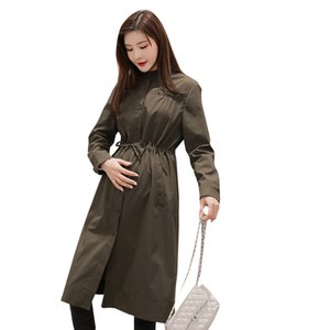 Wholesale 2019 spring and autumn pregnant woman coat loose fashionable trench coat single breasted drawstring waist coats casual