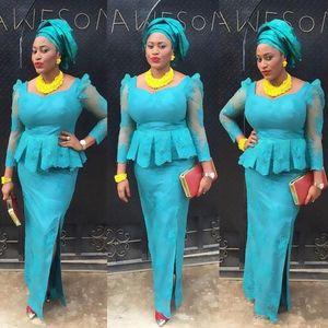 2020 HUNTER Nigeria robes de soirée Aso Ebi dentelle sirène robe de soirée robe à manches longues africaine partie formelle Festa De Vestido