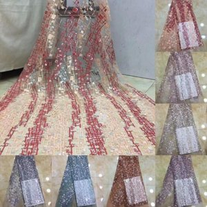 2020 High Quality African Sequins Lace Fabric French Net Embroidery Nigerian Tulle Lace Fabrics For Wedding Party Dress DPA117jhW#
