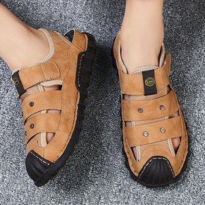 New Summer Sandals Men Leather Breathable Outdoor Beach Sandals Comfortable Fashion Mens Rubber Flip Flops Shoes Big Size 39-48