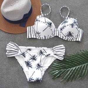 FALLINDOLL femmes Bandeau imprimé plage Maillots de bain Maillot de bain Bikini Push Up 2018 Maillot Brésilien Bikini Maillots de bain T200509