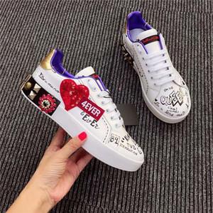 Dolce & Gabbana D&G NEW alta qualidade Moda Rocha Runner camuflagem tênis de couro Sapatos Homens, Mulheres Rocha Studs externas CAMUSTARS Casual Trainers