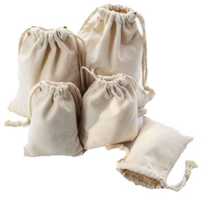 9x12 10x15 12x16 15x20 cm pamuk kanvas İpli çanta küçük Müslüman bilezik hediye takı çanta sevimli İpli hediye kılıfı Takı Torbalar