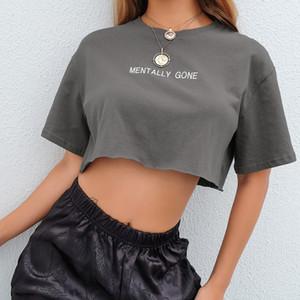 faatawat Summer Embroidery Letter Basic Crop T Shirt Loose Casual Harajuku Tshirt Women Kawaii Tee Korean Cute T-shirt Clothing wholesale