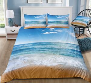 Yastık 3adet Seaside Yatak Seti Çift Boyut Taze Saf Barışçıl Kral Nevresim 3D Tek Tam Double Queen Yatak Örtüsü