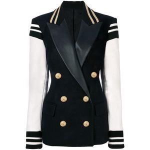 Alta qualidade mais nova moda blazer mulheres patchwork de couro duplo breasted blazer clássico jaqueta varsity