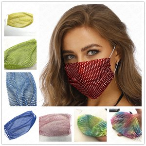 New Fashion bling bling fishing net face mask dustproof washable Reuse mask Stars crystal protective mouth covers Women party masks D62314