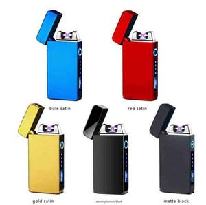 Double Arc récent Plamsa Usb Briquet rechargeable sans flamme électrique coupe-vent cigare allume-cigare avec LED Display Power 10 couleur