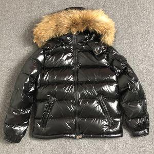 Енот мех вниз пальто молнии черных зимнего британских мужчин стиля вниз куртка с капюшоном пальто классических держать теплый Толстый Parka S-XXL MAYA