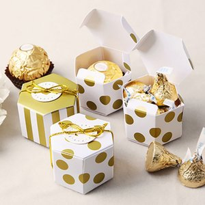 10pcs lot Mini Gold Round Dot Striped Hexagonal Candy Box for Wedding Birthday Party Decoration Favor Gift Souvenirs PM003