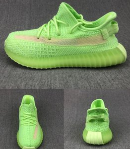 Kanye West 3M Reflective Infant Yecheil Kids Running Shoes Static Glow Green Clay Trainers Big Small Boy Girl Children Toddler Sneaker Black