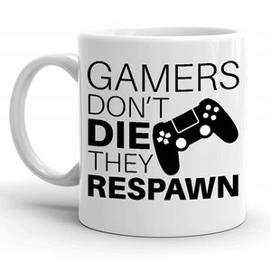 Tazas divertidas Tazas para Gamer Gaming Gamers Don't Die They Respawn Taza de café Cup Geek Juegos de video para Daddy Boyfriend Gift 11oz