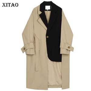 XITAO Patchwork Hit Color Long Trench Mujeres Fajas de bolsillo irregulares Match All Coat Top Turn Down Collar Single Breasted WQR1267