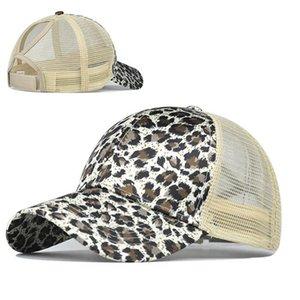 Cópia do leopardo de rabo de cavalo Bonés de beisebol Sequins Brilhante alta qualidade Womens moda malha ajustável Snapback do chapéu do partido 30pcs IIA184