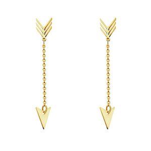Einfache Dart Pfeil-Tropfen-Ohrringe für Frauen Kolczyki Art und Weise Schmucksache-Edelstahl-Goldfarben-langkettige Ohrringe baumeln Joyas