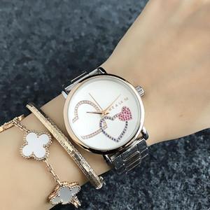 패션 숙녀 시계 2019 하트 모양의 크리스탈 럭셔리 스틸 블루 로즈 골드 쿼츠 숙녀 시계 캐주얼 숙녀 시계 선물 Relogio Montre