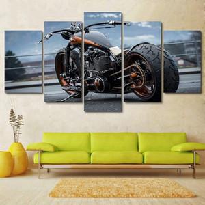 Dropship pintura a pistola de pintura al óleo 5 pieza fresca de la motocicleta del arte moderno de la pared de la lona sin marco lienzo Estampados