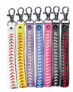 Baseball-Softball-Sport Keychain PU-Leder-Lanyards Woven Schlüsselanhänger-Armband-Armbänder Schlüssel-Halter-Telefon-Beutel-Anhänger Fanes Souvenir E3309