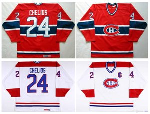 Vintage Montreal Canadiens Jersey 24 Chris Chelios High quality Red White 1991-92 CCM Hockey Jersey