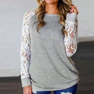 Frauen-T-Shirts und Spitze s Fashion Sexy Lace Floral Splicing O-Ansatz T-Shirt Tops Langarm-T-Shirt Frauen
