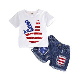Baby Mädchen Top Anzug amerikanische Flagge Unabhängigkeit Nationalfeiertag USA 4. Juli Stern Streifen Sieg blau geschreddert Jeansshorts zweiteiliges Set