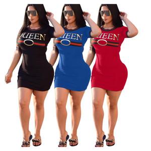 Parti Kraliçesi Yaz İnce Kulübü elbise için Letter Desen BODYCON Giyim rinted Elbise ile Kadınlara Tasarımcı Elbise