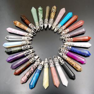 Piedra natural Amatista Colgante Opal Point encantos Colgante Cristal Cuarzo Piedra Preciosa Piedra Curativa Druzy Joyería para hombres mujeres