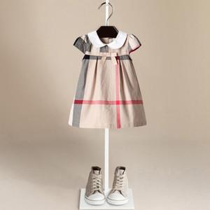 Xadrez Crianças Roupas de Verão new Baby Girl Roupas A-line Clássico da menina lapela Grande Xadrez Vestidos Vestido de Princesa topos