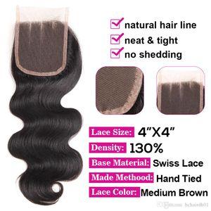 Дешевая оптовая цена Шнурок Закрытие 4 * 4 дюйма Свободной Ближняя Три Часть 130% Плотность Natural Black Straight тела Бразильской человеческие волосы Top Closure
