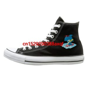 Unisex Casual Shoes Boys and Girls Sports Shoes Cartoon Shark Canvas Shoes High Top Casual Black Sneakers Unisex Style