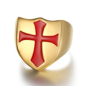 Templari Pregate Red Crocifisso Gesù acciaio di titanio Anelli cristiane monili Crossing Anelli cristianesimo Regali Anniversario
