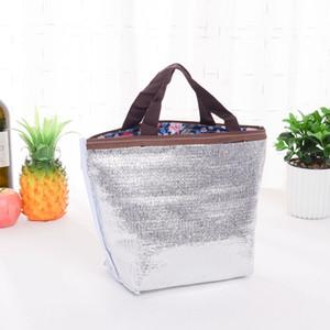 Große Kapazitäts-bewegliche Aluminiumfolie Lunch Handtasche Camping Wasserdichtes Insulated Lunch Lebensmittel Taschen Oxford Druck Mittagessen Aufbewahrungstasche VT1563 T03