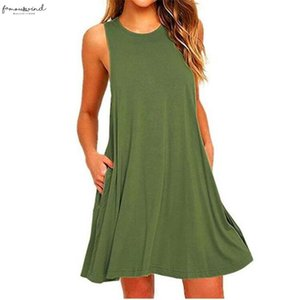 2020 Summer Fashion Commuter Party Casual Dating Loose S 2Xl Sleeveless Round Neck Pocket Solid Color Dress Womenswear