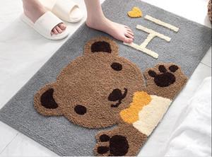 big cute Bear Modern home flocking door mat home entrance porch non-slip mat bathroom entrance water-absorbing foot pad,cheap price