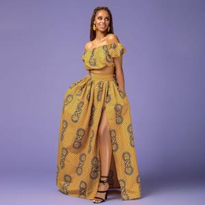 2019 femmes deux pièces robes imprimées african haut blouse et jupe longue avec des vêtements de mode pour dames avant divisée