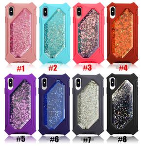 Yeni Özelleştirilmiş Bling Glitter Sıvı Quicksand Durumda iPhone Için X XS Max XR Kristal Defender Durumlarda Kapak iphone 8 7 6 S Artı