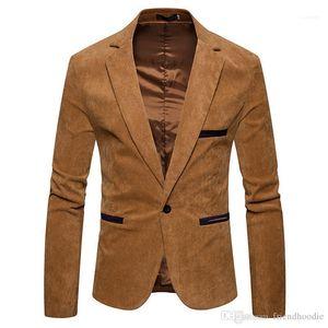 أزرار اللون الصلب بدلات الرجال سترة الربيع الذكور في الرقبة طويلة كم Mens Cordury سترة الموضة واحدة