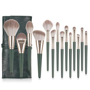 Neue Make-up Pinsel 14pcs Professionelle Brsuh Satz mit Beutel Kunsthaar Bronzer Powder Blush Highlighter Grundlage bilden Bürstensatz.