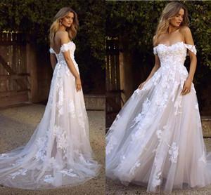 Vestidos de novia de playa Boho del país 2020 Sin espalda sexy Una línea de hombro Apliques Tul Vestidos de novia largos de verano Bohemio BM1510