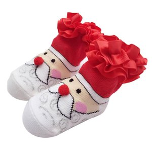 Baby Socks New Born Christmas Gift Tulle Bow Lace Santa Holiday Birthday Gift for Infant Boys Girls 0-12 Months Cartoon Unisex